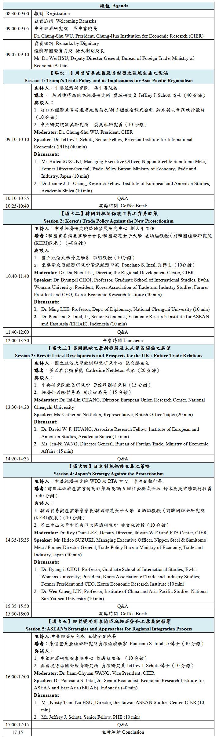 標題-經貿變局對經貿自由化及區域整合之影響與展望國際研討會議程