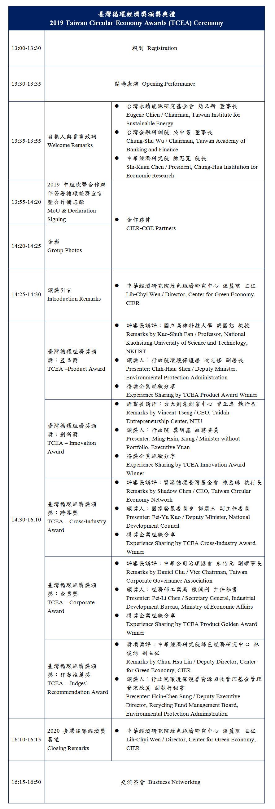 標題-永續城市-臺灣循環經濟獎頒獎典禮議程