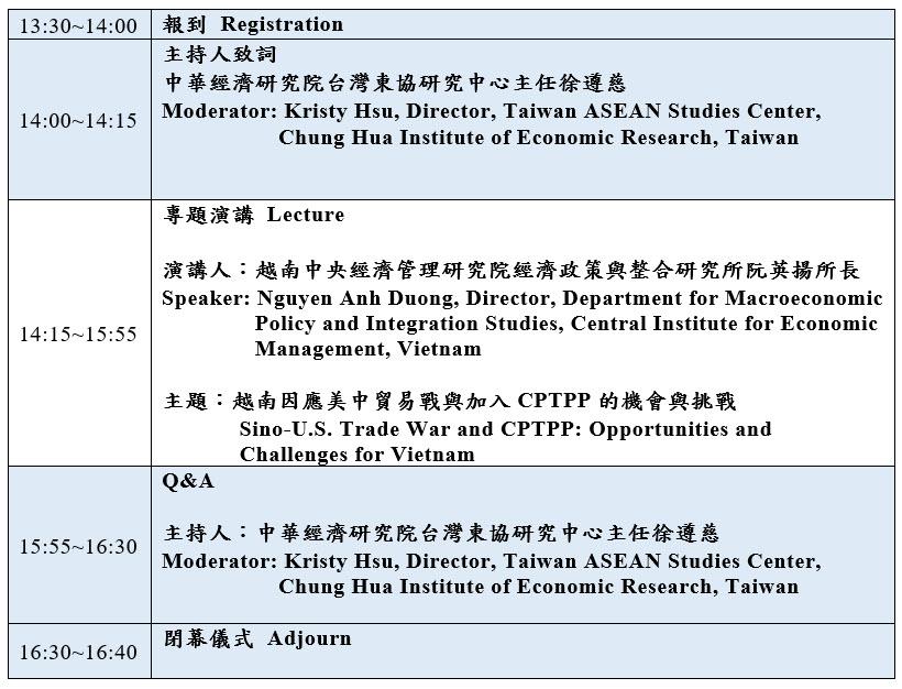 標題-越南因應美中貿易戰與加入CPTPP的機會與挑戰議程