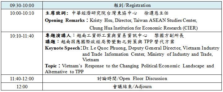 標題-越南因應國際政經局勢變動之對策與TPP替代方案專題演講議程